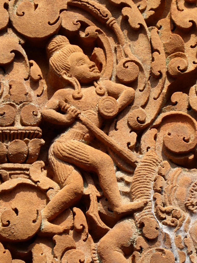 A small details of the amazingly preserved carvings of Banteay Srei Temple